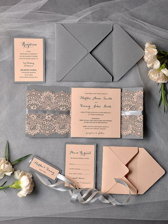grey and peach lace wedding stationery looks elegant