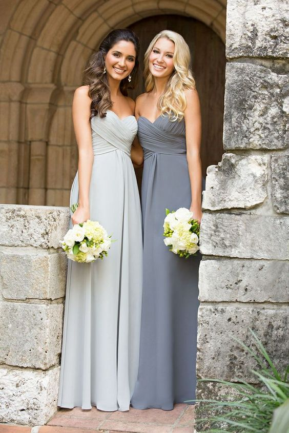 light and dark grey bridesmaids' dresses with yellow flowers
