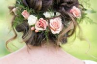 09 messy braided updo with fresh roses