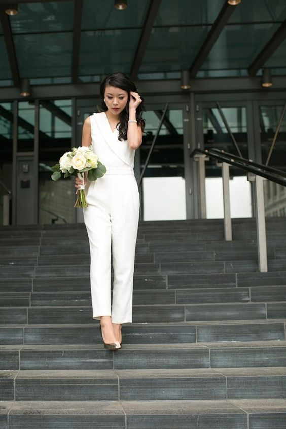 modern bridal jumpsuit and metallic shoes