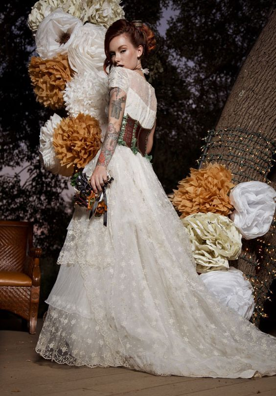 Picture of ruffle and lace victorian wedding dress with a leather picture of ruffle and lace victorian wedding dress with a leather corset junglespirit Images
