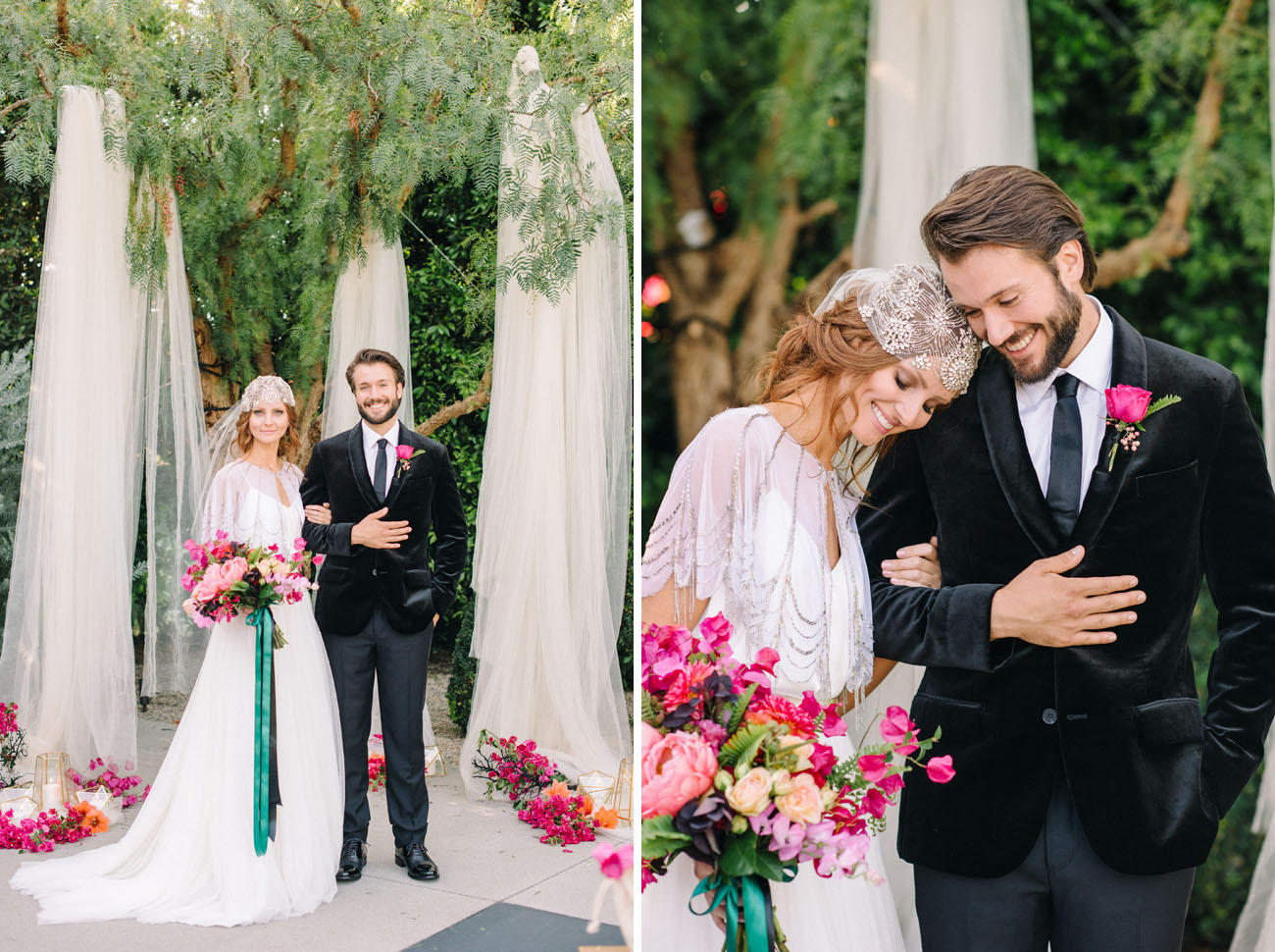 Juliet cape veil adds a chic boho touch to the bridal look