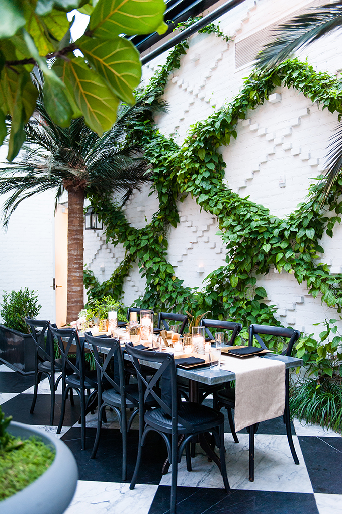 The florists created cool greenery decor
