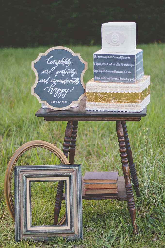 Vintage frames signs and a cake also feature Pride And Prejudice quotes for a romantic touch