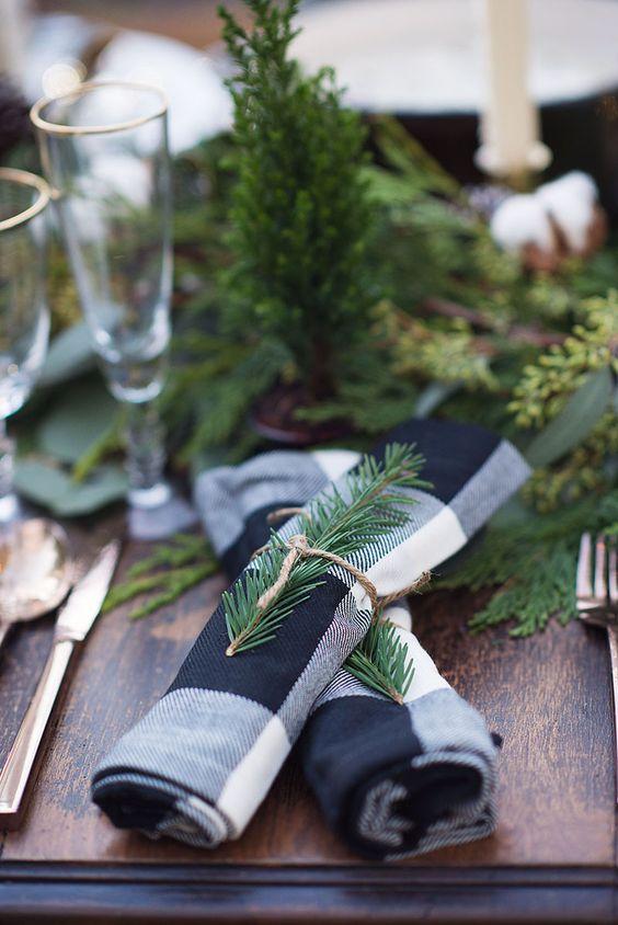 attach fir sprigs to napkins for a festive spirit