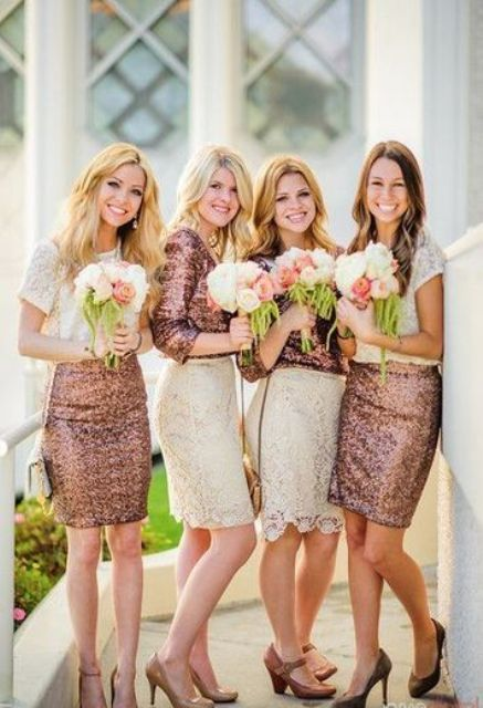 copper and white bridesmaids' looks