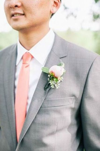 3284801e8ec6 Picture Of grey groom's suit with a crispy white shirt and a peach tie