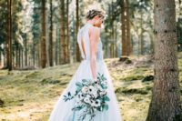 10 light blue wedding gown with a keyhole back and embellishments