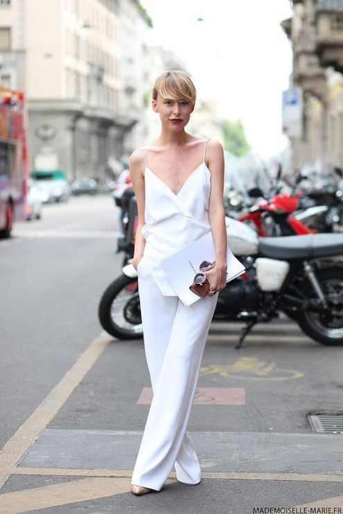white bridal jumpsuit with spaghetti straps