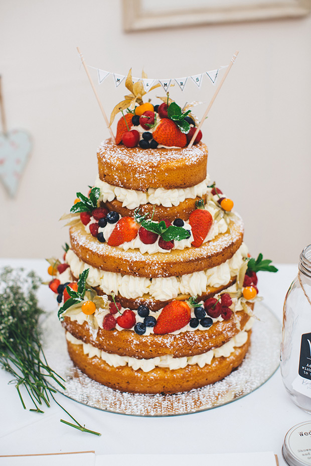 A gorgeous naked cake with berries was a perfect fit for this homey celebration