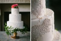 11 Look at the stunning lace cake topped with flowers – what can be more romantic than that