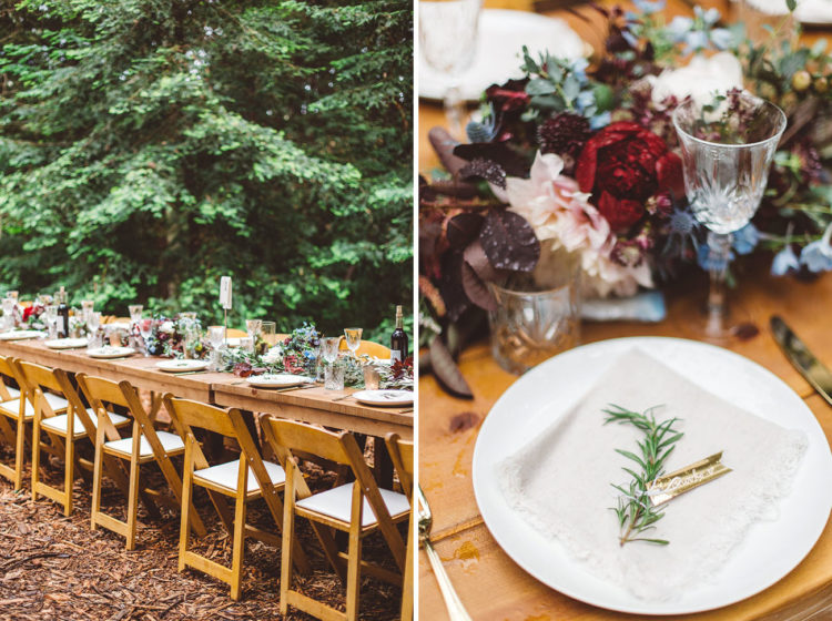 The reception was also a woodland one, with cool greenery and flower table runners