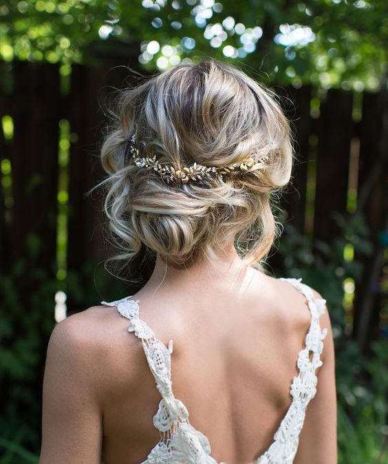 messy short hair updo with a boho headband