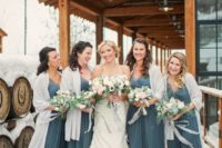 11 slate bridesmaids' dresses with neutral cover ups
