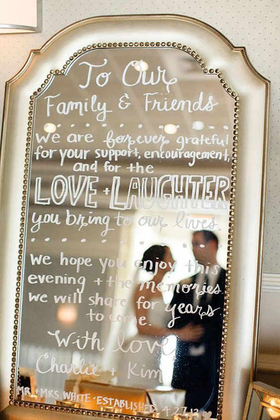 vintage mirror inspired wedding sign