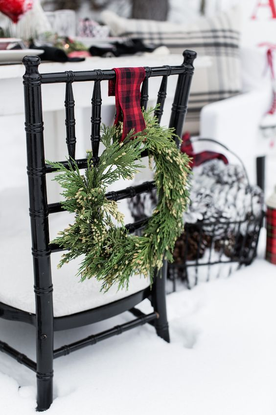 wispy wreath with plaid ribbon for outdoor chair decor if you're having