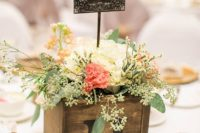 11 wooden box with flowers and a vintage printed table number