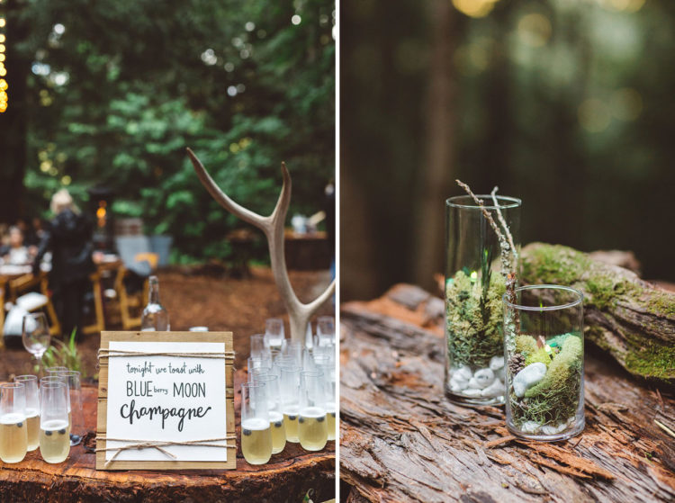 Antlers and moss were used for wedding decor because it was a forest celebration