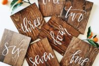 12 hand lettered calligraphy wood table numbers
