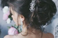 12 messy updo for long hair with a crystal hairpiece