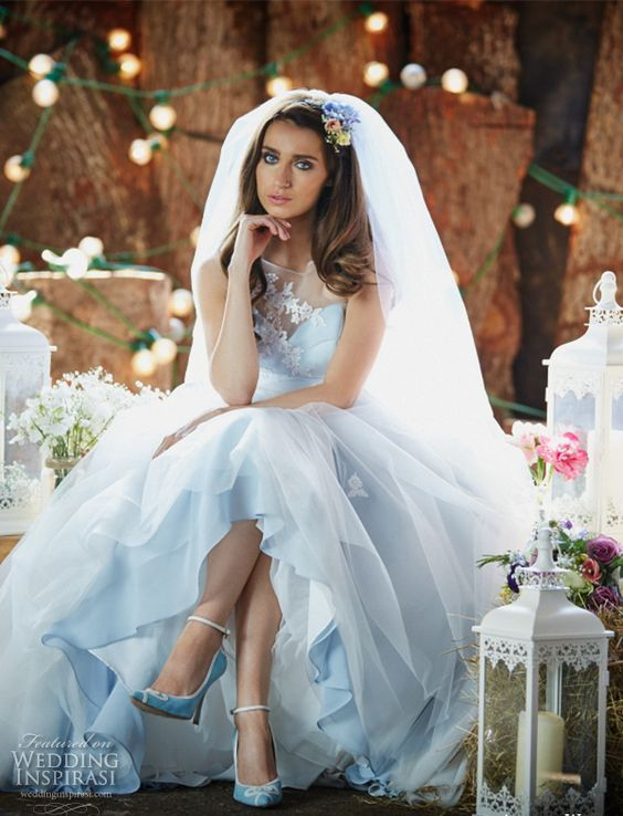 pastel blue A-line wedding dress with an illusion neckline