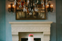 13 A crystal chandelier, a fireplace and a fountain can add Spanish flavor to your wedding