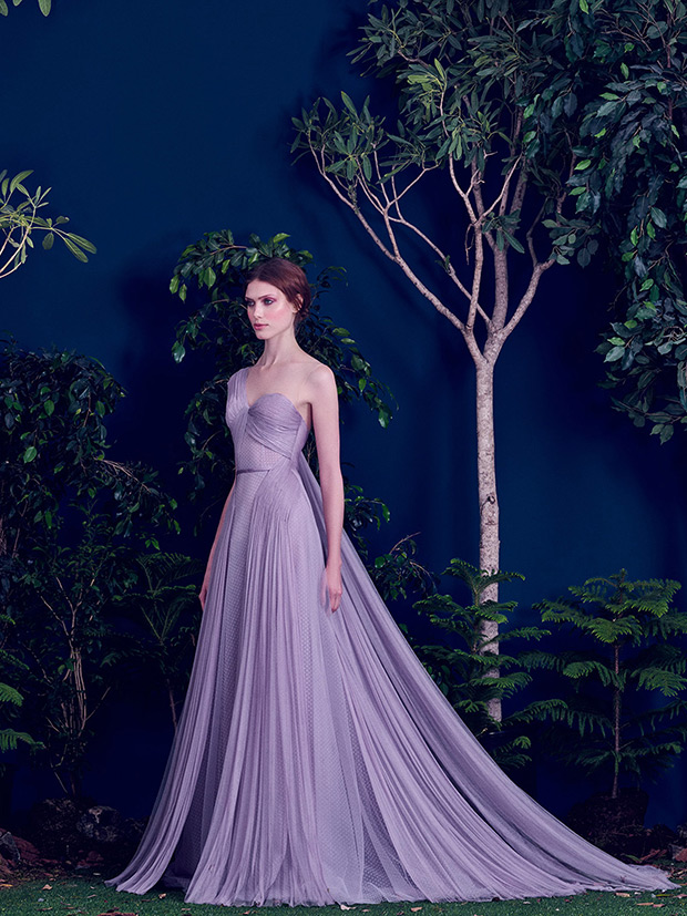 Elegant draped one-shoulder lavender dress with fabric on the back