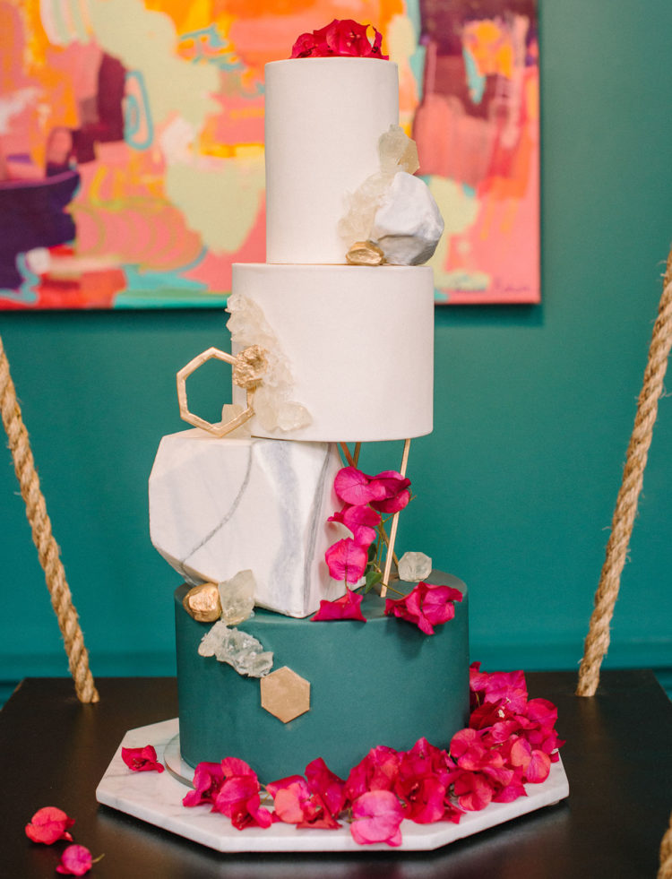 The wedding cake was another masterpiece in this shoot, ivory and green with geometric details and geodes