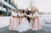 13 blush dresses and white faux fur look very feminine