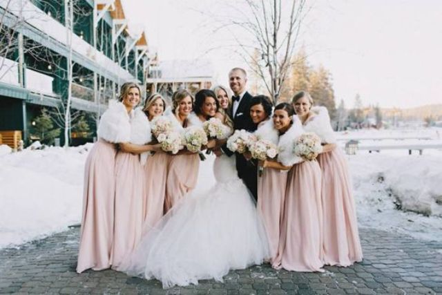 blush dresses and white faux fur look very feminine