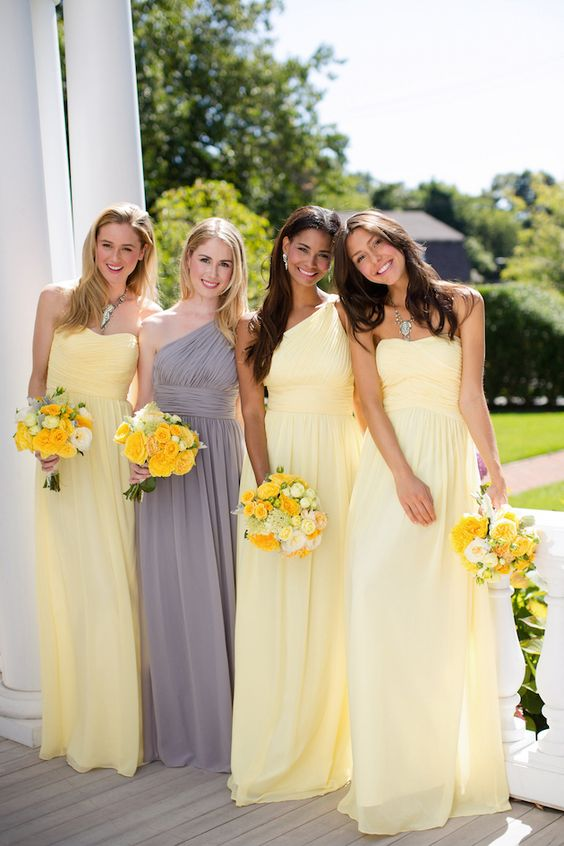 Yellow And Gray Wedding Bridesmaid Dresses 118