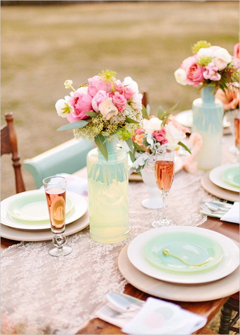 peach lace table runner and mint vases and dishes