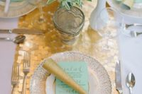 13 square table runner with mint menus