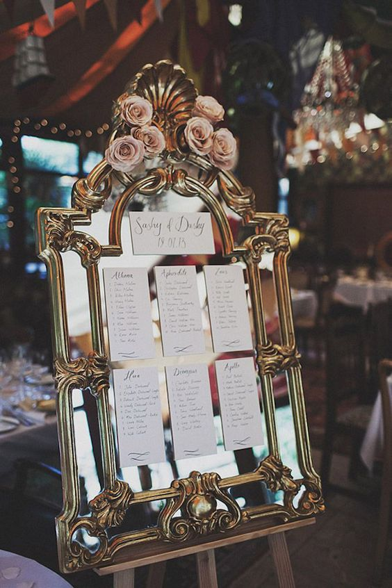 vintage frame mirror with paper and fresh roses