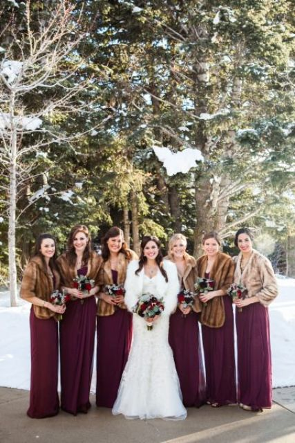 burgundy maxi dresses with faux fur cover ups