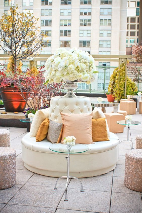 glam fall rooftop wedding reception