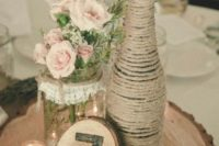 14 mason jar and a beer bottle wrapped with yarn, wood slice table number