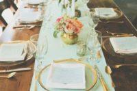 14 mint table runner, gilded tableware and gilded plate edges