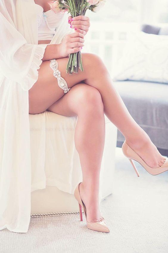 put on your wedding garter and heels