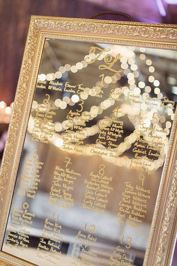 vintage framed mirror with a gold painted seating chart