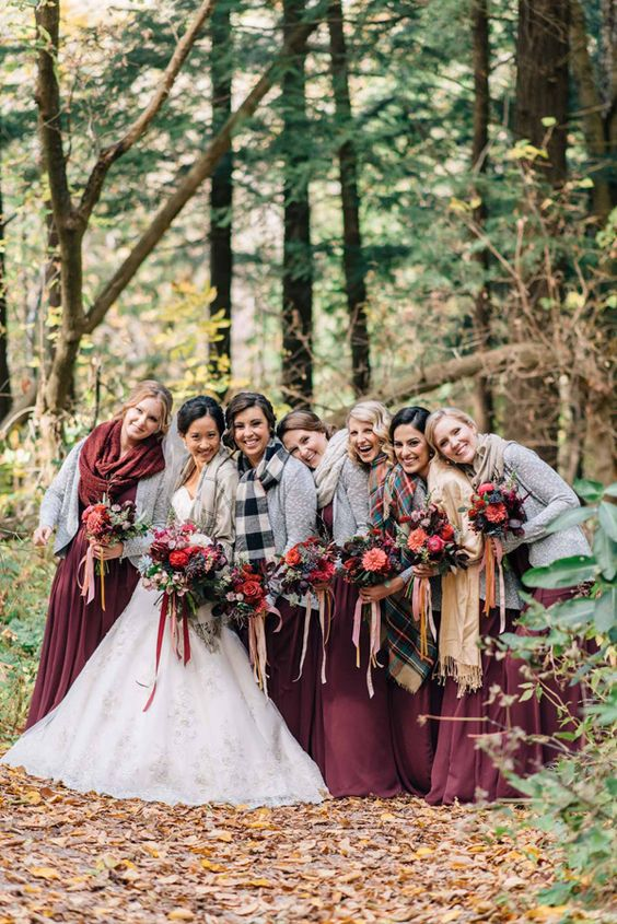 burgundy maxi dresses, grey cardigans and warm scarves