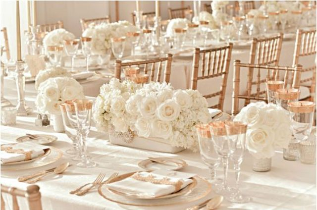 classic and refined table setting in cream and copper
