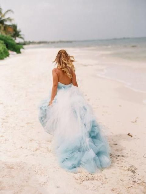 dyed wedding gown with blue touches