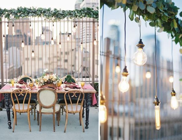 industrial rooftop weddidng decor