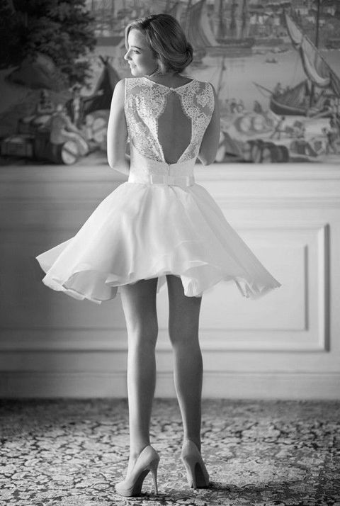 keyhole back short wedding dress with a bow on the back