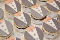 15 peach and grey tuxedo cupcakes