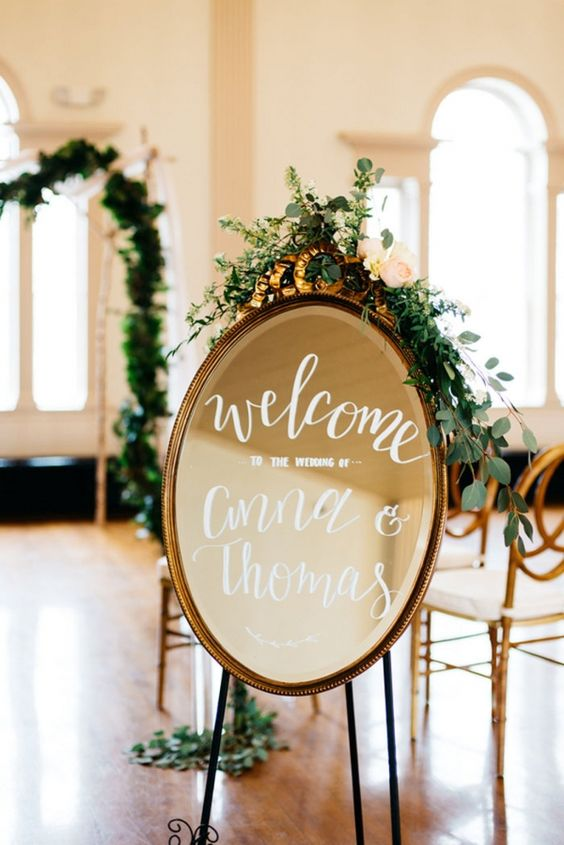 vintage mirror calligraphy wedding sign with eucalyptus