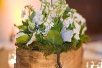 15 wooden box with moss and flowers, wooden table numbers on sticks