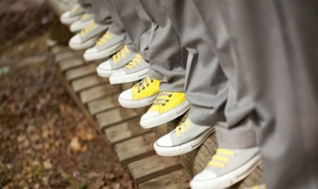 yellow and grey Converse shoes for groomsmen