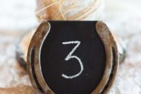 16 chalkboard horseshoe table number for a cowboy wedding